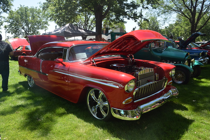 A 1955 Chevrolet Bel Air, owned by Hal and Kim Zalesky, of Sidney, Neb., was among the vehicles on display at Colorado Flatlanders 25th Annual Rod Run in the Park Saturday, July 9, 2016, at Pioneer Park.
