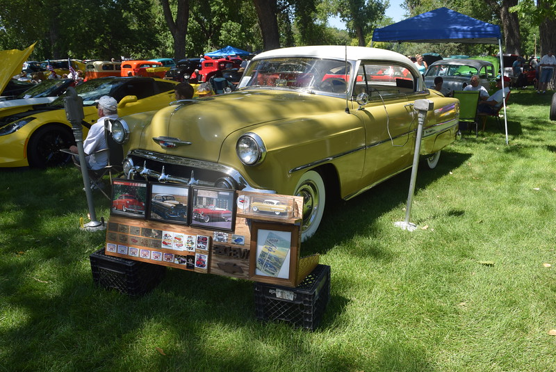 A 1957 Chevy Bel Air 2 Door HT, owned by Boyd and Bonnie Glennen, of Sterling, was among the vehicles on display at Colorado Flatlanders 25th Annual Rod Run in the Park Saturday, July 9, 2016, at Pioneer Park.