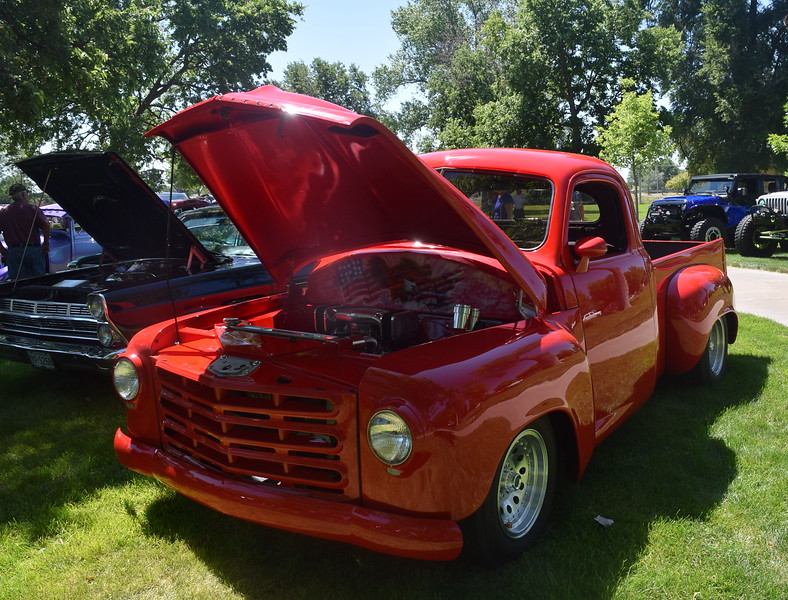 A patriotic 1951 Studebaker Pickup Truck, with a Eagle and American flag painted on it, owned by Matt Chismar, of Wellington, was among the vehicles on display at Colorado Flatlanders 25th Annual Rod Run in the Park Saturday, July 9, 2016, at Pioneer Park.