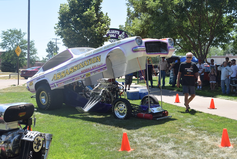The Assassination revs its engine during an exhibition, one of several nitro car exhibitions at Colorado Flatlanders 25th Annual Rod Run in the Park Saturday, July 9, 2016, at Pioneer Park.