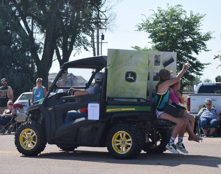 The Hernandez Farm float makes its way through downtown Crook during the Crook Fair Parade Saturday, July 29, 2016.