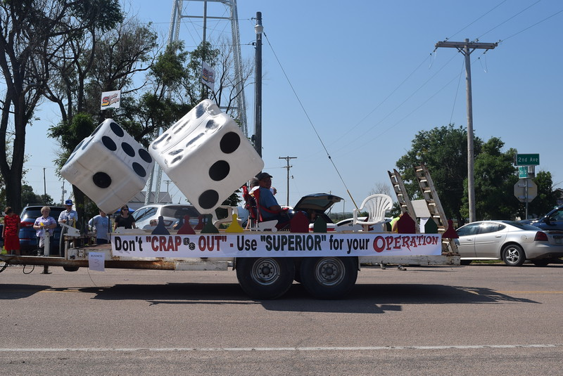 "Superior Fertilizer's float in the Crook Fair Parade Saturday, July 29, 2016, went with the Candy Land board game theme ""Crook Land."""