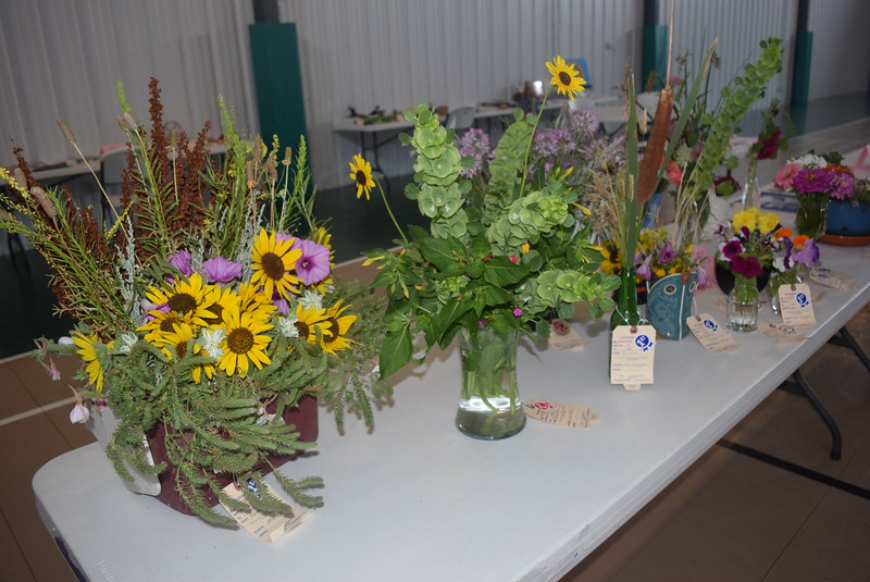 A variety of flower arrangements were on display at the Crook Fair Saturday, July 29, 2016.