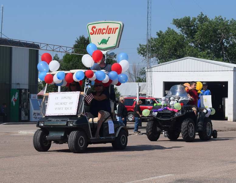 The Clevengers float in memory of Papa Rich makes its way down the parade route at the Crook Fair Saturday, July 29, 2016.