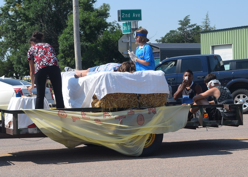"G and R Farms ""Crook Land Medical"" float makes its way through downtown Crook during the Crook Fair Parade Saturday, July 29, 2016. It was the overall winner in this year's parade."