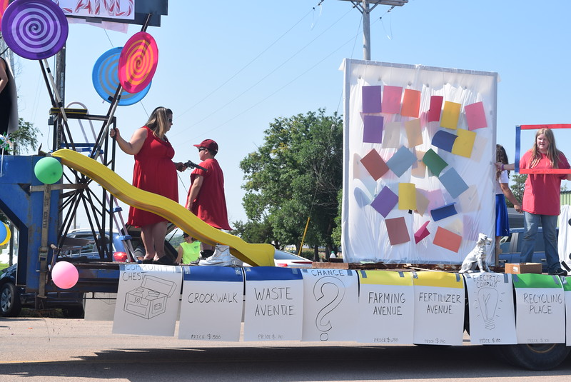 "Marick's Waste Disposal's float in the Crook Fair Parade Saturday, July 29, 2016, displayed a variety of board games to go with the Candy Land board game theme ""Crook Land."""