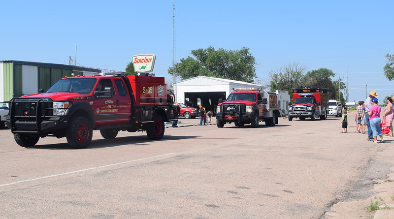 Crook Fire Department trucks make their way through downtown Crook during the Crook Fair Parade Saturday, July 29, 2016.