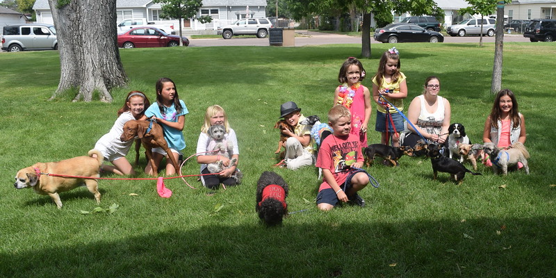 Contestants in the 2016 Kids Pet Show Saturday, July 16, 2016, at Propst Park, from left; Sydney Baseggio, Drew Baseggio, Carlee Hicks, Logan Leonard, Alex Hicks, Ava Cromwell, Reese Toffin, Elizabeth Adlesperger and Kiley Long.