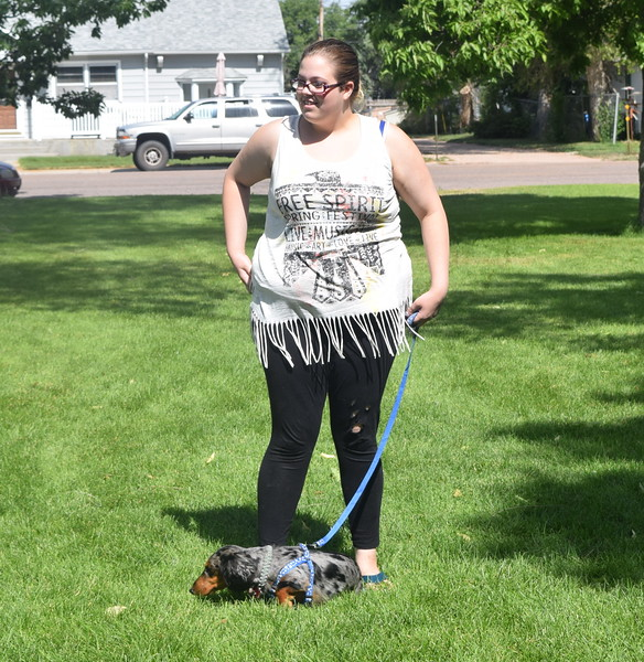 Elizabeth Adlesperger's Dotson, Snickers, took second place in the Least Motivated division at the Kids Pet Show Saturday, July 16, 2016.