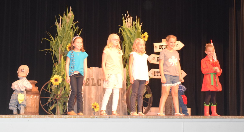 "Competitors in the junior division model their outfits at the ""Equines, Bovines and Little Buckaroos!"" Logan County Fair 4-H Fashion Revue Friday, July 29, 2016. From left; Ayla Baney, Sadie Fehringer, Natalie Adels, Ashton Nichols and Hallie Lewis."