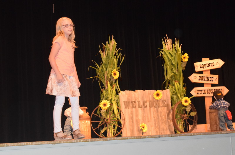 "Sadie Fehringer models her outfit in the junior division of the ""Equines, Bovines and Little Buckaroos!"" Logan County Fair 4-H Fashion Revue Friday, July 29, 2016."