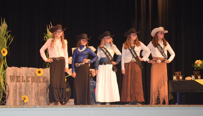 "Logan County Fair Royalty model their outfits at the ""Equines, Bovines and Little Buckaroos!"" Logan County Fair 4-H Fashion Revue Friday, July 29, 2016. From left; Bobbie Schreiner and Abbey Zink, Logan County Sweethearts; McKaylin Schreiner and Jessica Sigmon, Queen Contestants; and Abbey Brower, Miss Rodeo Logan County 2016."