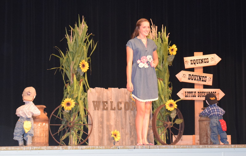 "Lauren Fritzler models her outfit in the intermediate division of the ""Equines, Bovines and Little Buckaroos!"" Logan County Fair 4-H Fashion Revue Friday, July 29, 2016."