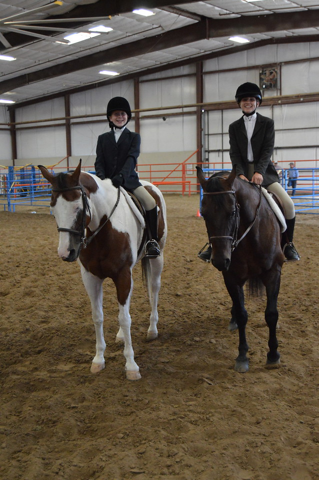 TobiBeth Erickson, left, and Abby Budd were the two entrants in the English Equitation classes for the 2016 Logan County Fair Junior Horse Show.