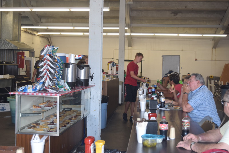 It's not the Logan County Fair without the Peetz Lions booth underneath the grandstands. The booth had a large crowd Tuesday, Aug. 2, 2016, enjoying hamburgers and hot dogs for lunch, along with some pie.
