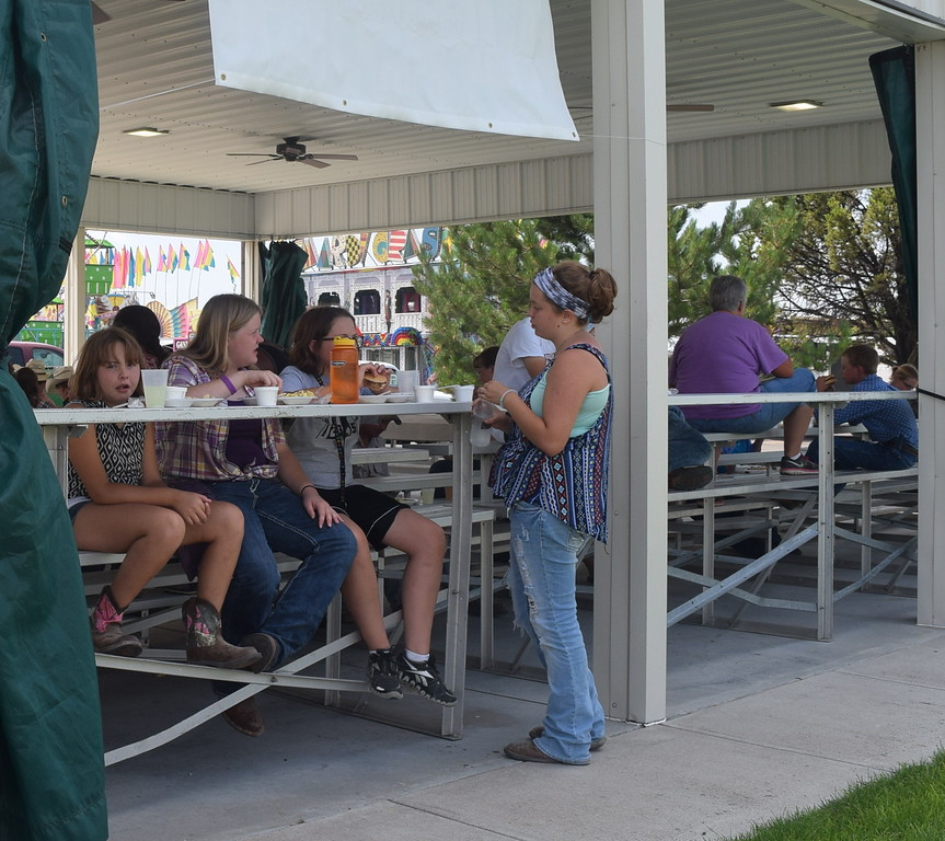 4-H and FFA members enjoy a barbecue lunch Tuesday, Aug. 2, 2016, at the Logan County Fair.