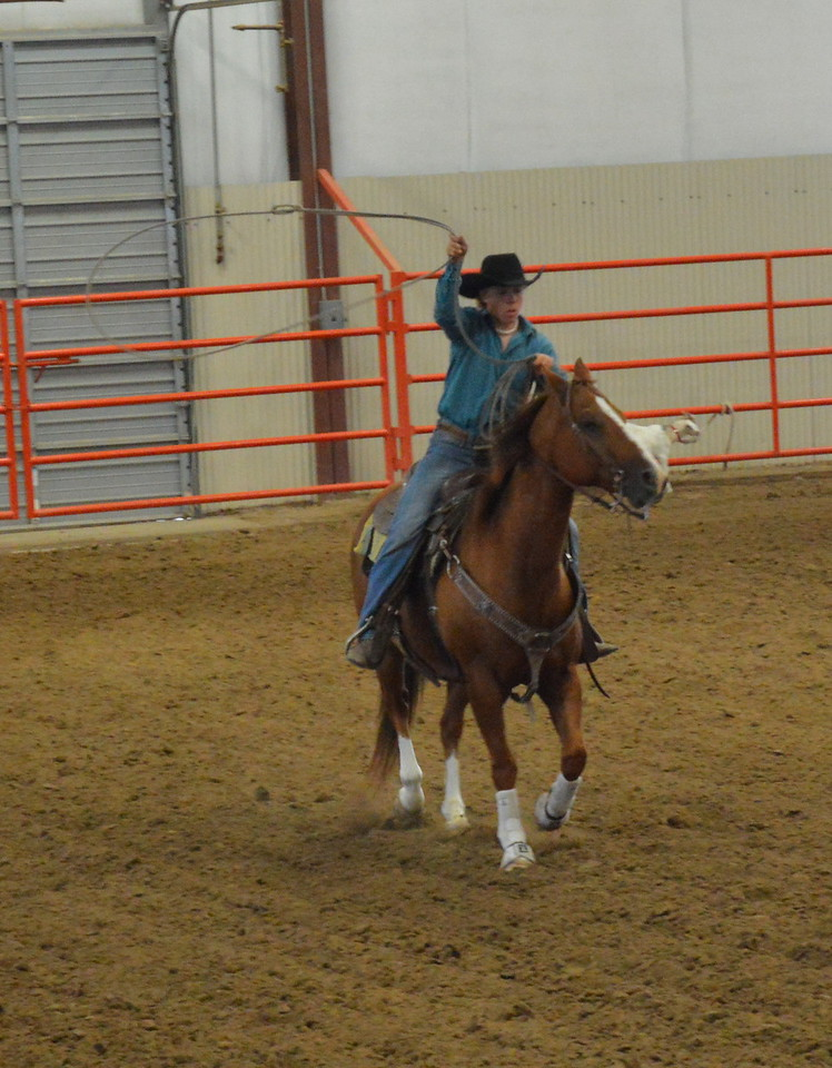 Kolton Dickinson, senior working cow horse