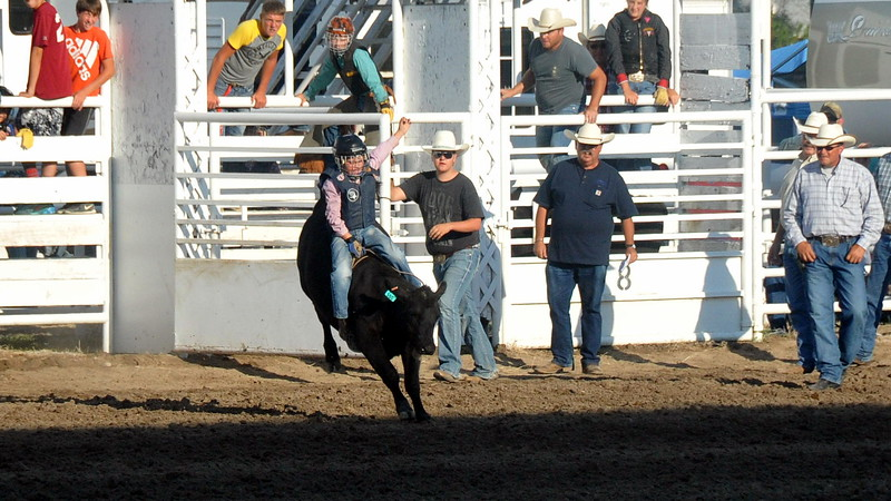 A local Logan County youth during the calf riding event of the Logan County junior rodeo.