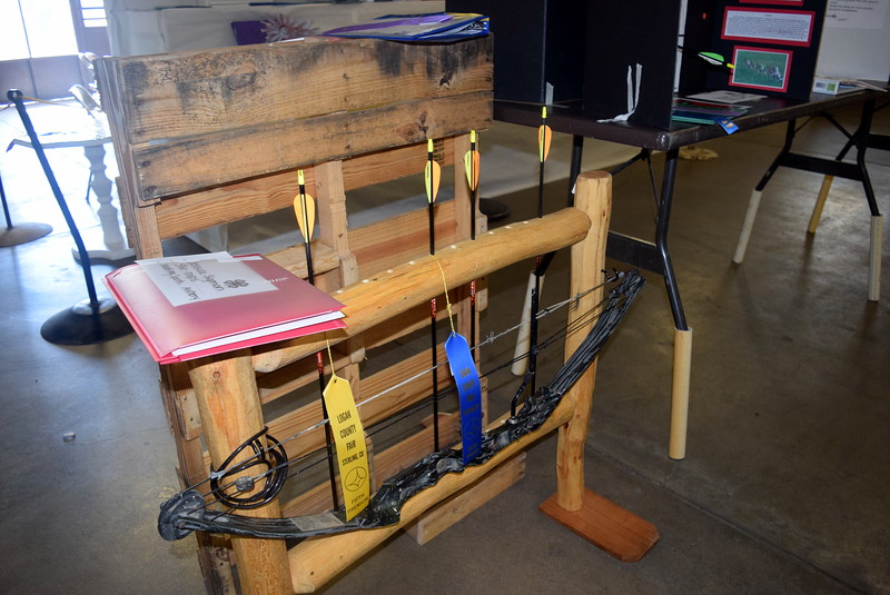 An archery project on display underneath the grandstands Wednesday, Aug. 3, 2016, at the Logan County Fair.