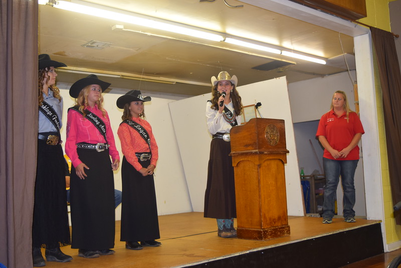 Miss Rodeo Logan County 2016 Abbey Brower thanks the community for its support of the Logan County Fair during Sterling Lions Club's Cowboy Breakfast Wednesday, Aug. 3. With her are, from left; Miss Rodeo Logan County 2017 contestants Jessica Sigmon and McKaylin Schreiner, Logan County Sweetheart Abbey Zink and Royalty Coordinator Jennifer Wagner.