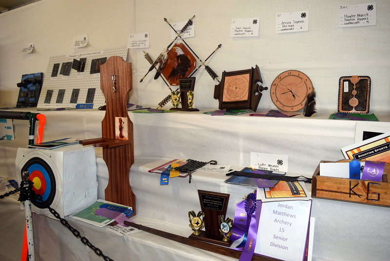 Leathercraft and shooting sports projects were among those on display underneath the grandstands Wednesday, Aug. 3, 2016, at the Logan County Fair.