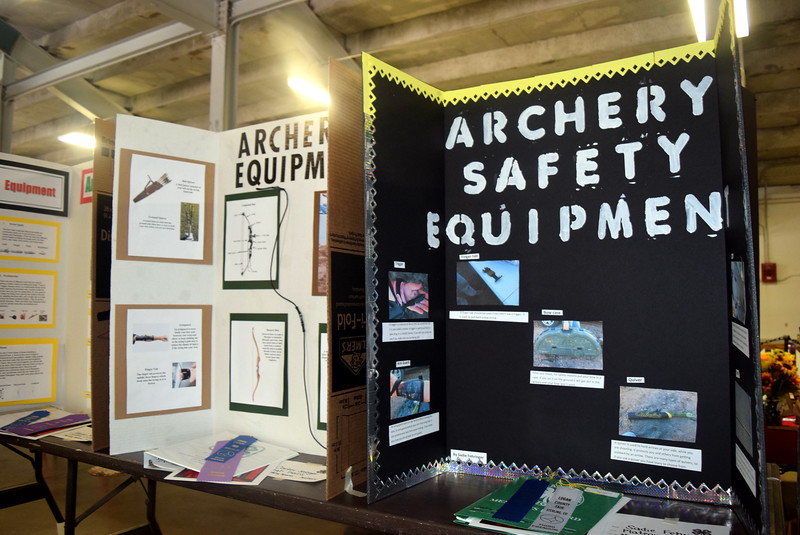 Archery projects were on display underneath the grandstands Wednesday, Aug. 3, 2016, at the Logan County Fair.