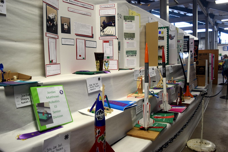 Rocket projects were on display underneath the grandstands Wednesday, Aug. 3, 2016, at the Logan County Fair.