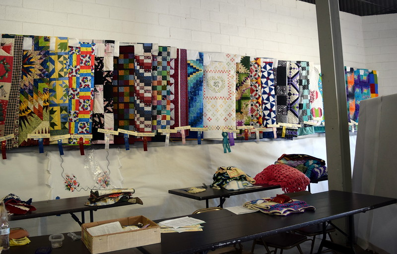 A variety of quilts were on display underneath the grandstands Wednesday, Aug. 3, 2016, at the Logan County Fair.