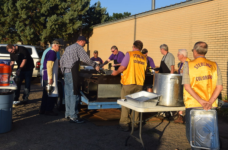 Sterling Lions Club members were up bright and early Wednesday, Aug. 3, 2016, preparing pancakes for the Cowboy Breakfast. They served around 500 people at this year's breakfast.