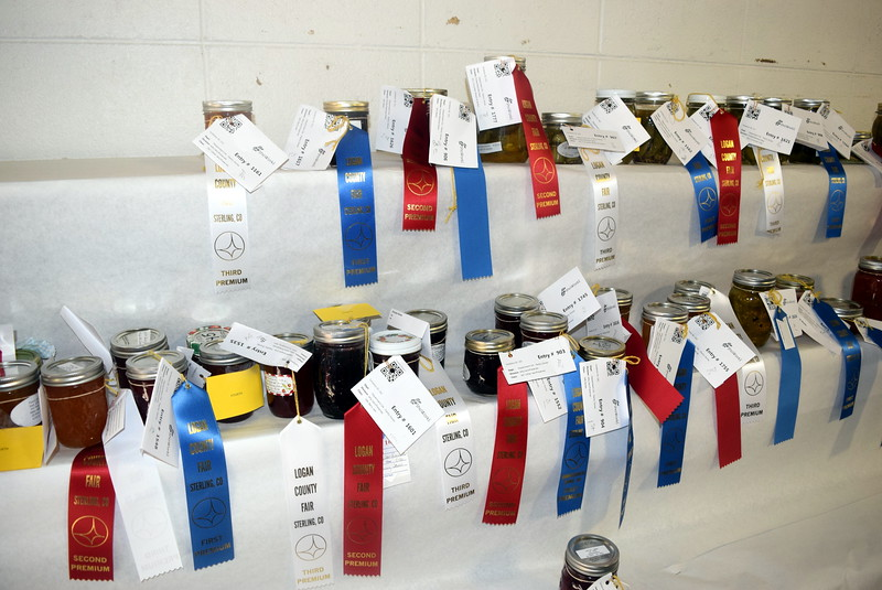 A variety of jelly/jam/preserves were on display underneath the grandstands Wednesday, Aug. 3, 2016, at the Logan County Fair.