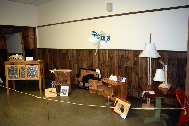 Wood work on display in the Gary DeSoto Building Thursday, Aug. 4, 2016, at the Logan County Fair.
