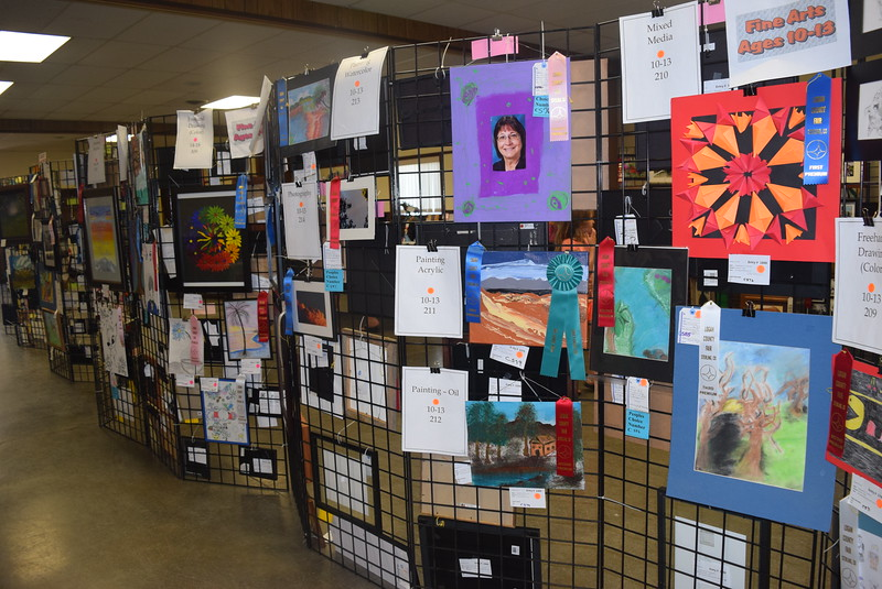 A variety of artwork hangs in the Gary DeSoto Building Thursday, Aug. 4, 2016, at the Logan County Fair.