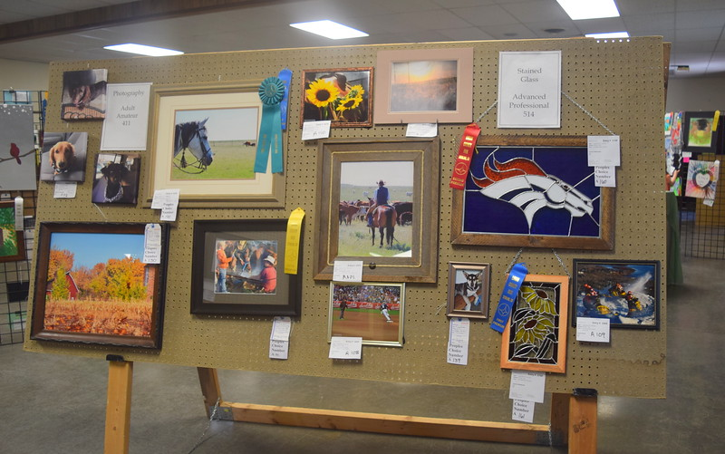 Photography and stained glass artwork on display in the Gary DeSoto Building Thursday, Aug. 4, 2016, at the Logan County Fair.