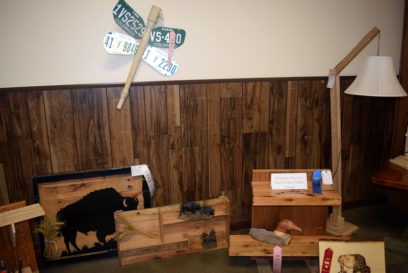 Wood projects on display in the Gary DeSoto Building Thursday, Aug. 4, 2016, at the Logan County Fair.