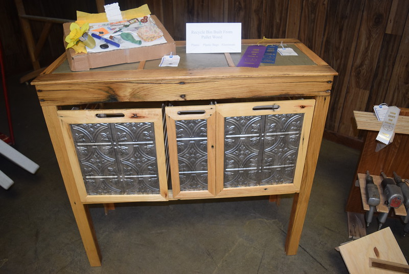 A recycle bin built from pallet wood was among the projects on display in the Gary DeSoto Building Thursday, Aug. 4, 2016, at the Logan County Fair.