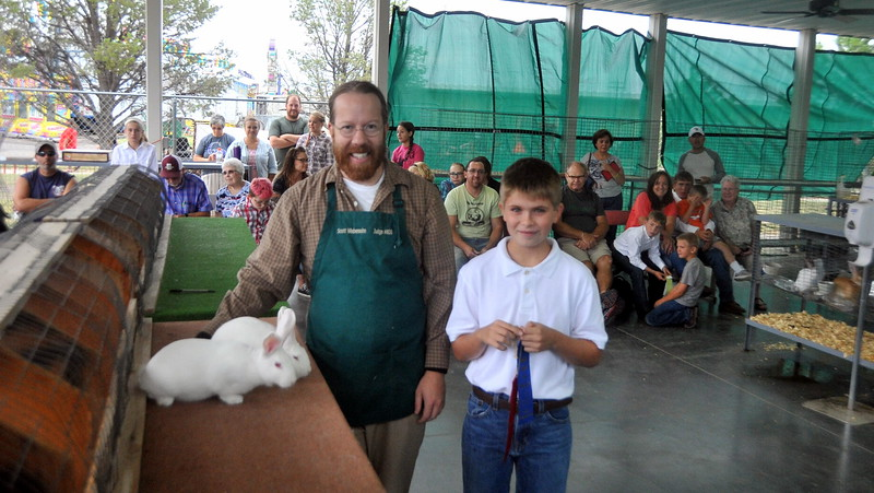 Kodie Krueger was the grand champion in the junior rabbit show at the Logan County Fair.