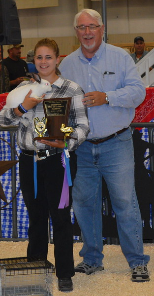 Grand Champion Market Rabbit (group of three) shown by Kodie Krueger-Wettstein, $600 paid by Journal-Advocate.