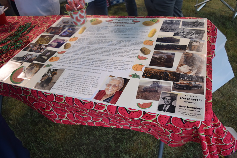 A poster board on display gave visitors an opportunity to learn about George and Minnie Korrey during a memorial watermelon feed held in their honor Saturday, Aug. 6, 2016, at the Logan County Fair.