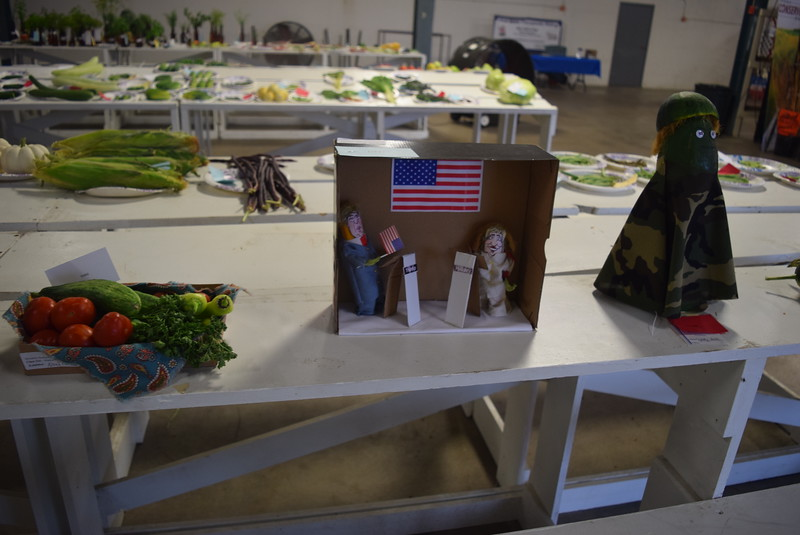 A variety of vegetable decorations and baskets were on display underneath the grandstands Saturday, Aug. 6, 2016, at the Logan County Fair.