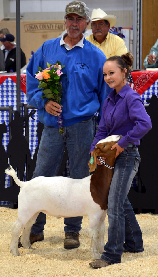 Grand Champion Market Goat, shown by Wacey Day, $2,000 bought by by Circle L Irrigation.