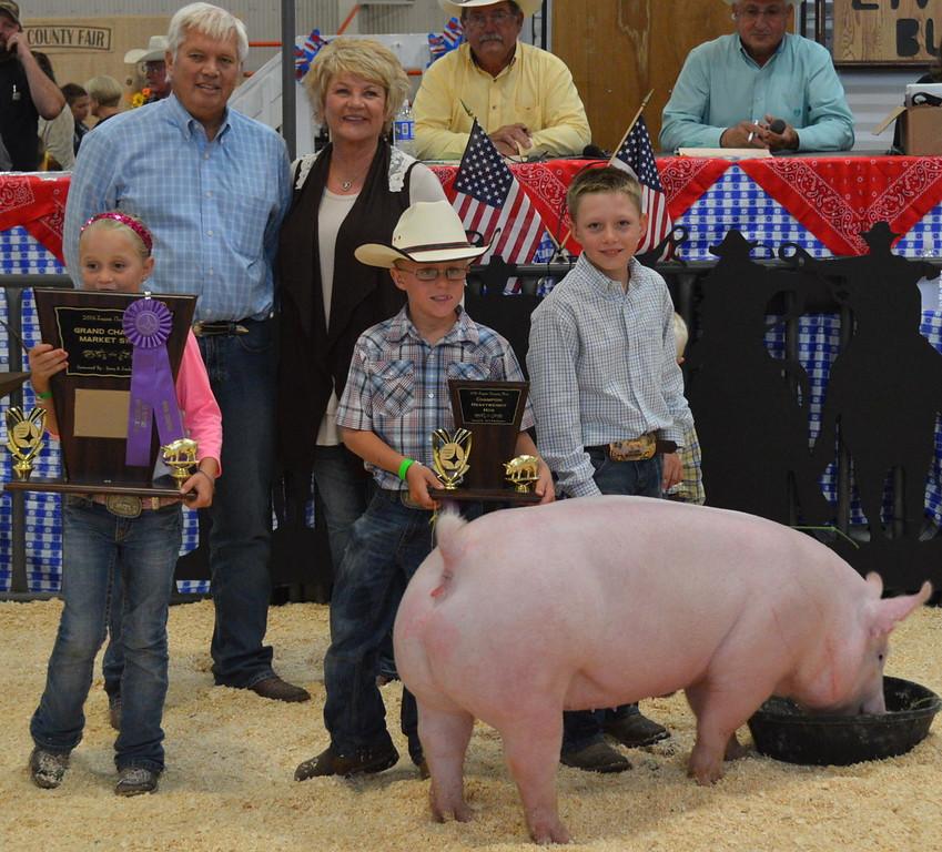 Grand Champion Market Swine, shown by Ben Walker, $10,000 paid by McEndaffer Cattle Co.
