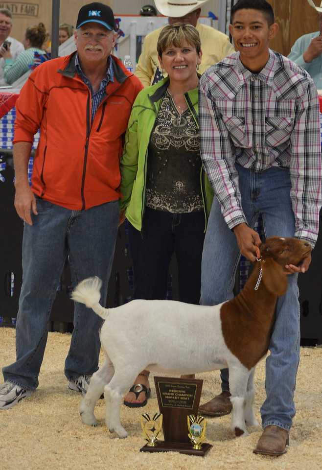 Reserve Grand Champion Market Goat, shown by Jayson Frank, $1,000 paid by K&K Oil Field Services;<br /> Reserve Grand Champion Market Goat, shown by Jayson Frank, $1,000 paid by K&K Oil Field Services;