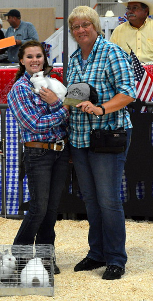 Reserve Grand Champion Market Rabbit (group of three) shown by Makayla Hill, $600 paid by Crystalyx Feed and Brian & Trudy Fritzler.