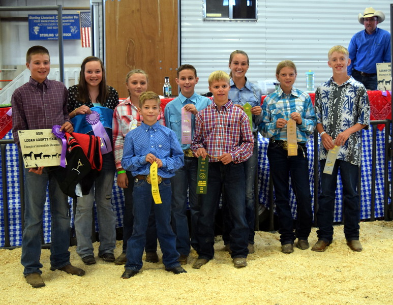 Intermediate showmanship competitors in the Round Robin Showmanship Contest Friday, Aug. 5, 2016, at the Logan County Fair. Front row, from left; Aden Young, fifth place; Connor Brecht, sixth place; back row, from left; Kayd Goss, master showman; Alli Stromberger, reserve master showman; Kaitlynn Storch, third place; Cooper Dewitt, fourth place; Abby Bud, seventh place; Jenna East, eighth place; and Coy Waitley, ninth place.