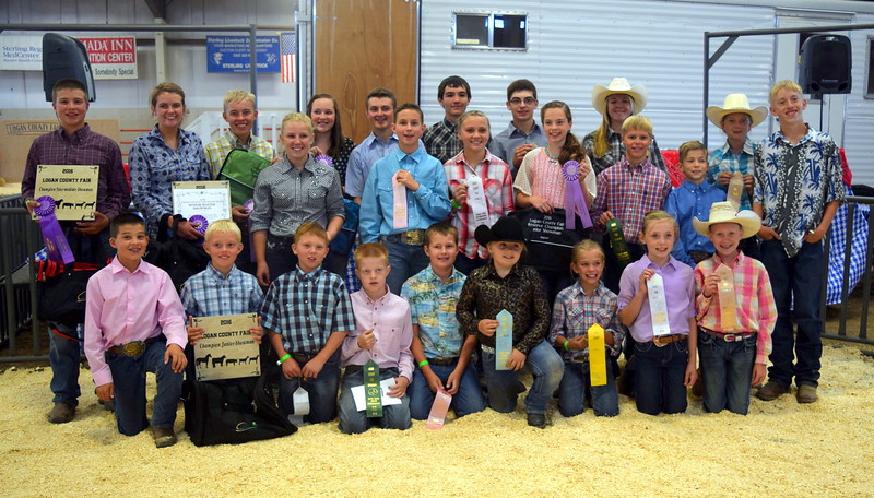 Competitors in the Round Robin Showmanship Contest Friday, Aug. 5, 2016, at the Logan County Fair. Front row, from left; Slayter Goss, Beau Carlson, Tyler Miller, Colton Hadeen, Jaxon Samber, Hadlie Robinette, Hallie Lewis, Tyla Thomas, Tobi-Beth Erickson; second row, from left; Kinlie Lewis, Cooper Dewitt, Kaitlynn Storch, Jalyssa Maker, Connor Brecht, Aden Young; back row, from left; Kayd Goss, Kristi Cook, Cooper Carlson, Alli Stromberger, Riley Meisner, Tyler Gentry, Jayce Maker, Bailey Nelson, Jenna East, Coy Waitley. Not pictured Cassidy Paxton and Abbey Brower.