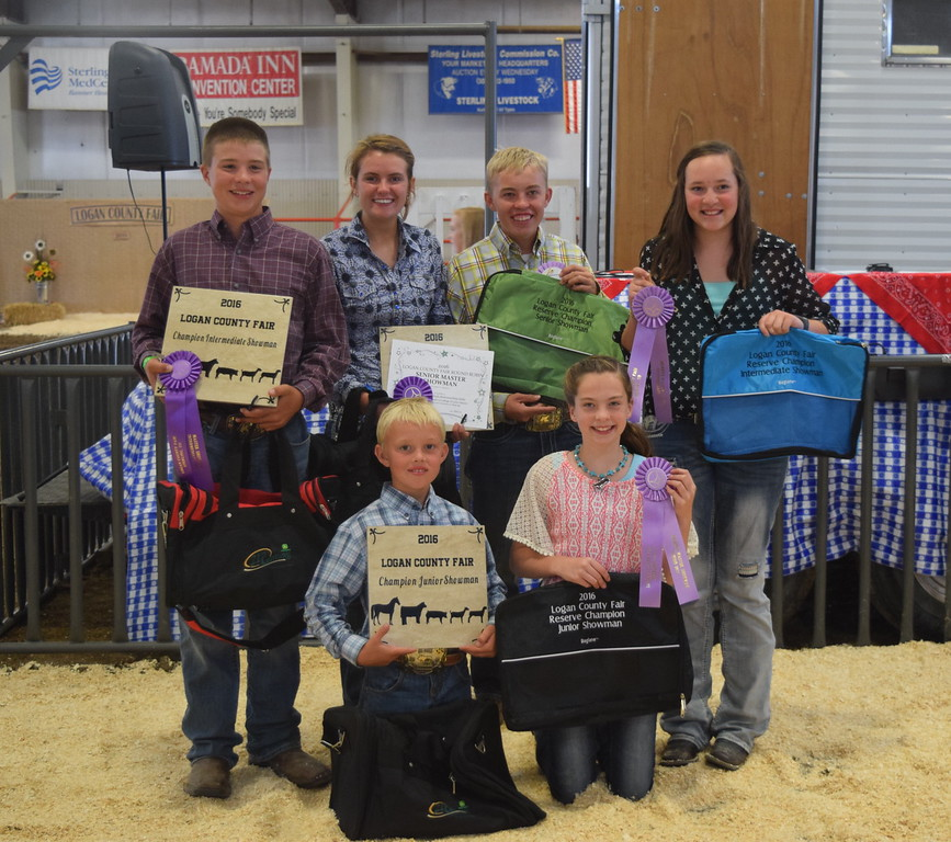 Round Robin Showmanship Contest champions Friday, Aug. 5, 2016, at the Logan County Fair. Front row, from left; Beau Carlson, champion junior showman; Jaylssa Maker, reserve junior showman; back row, from left; Kayd Goss, champion intermediate showman; Kristi Cook, champion senior showman; Cooper Carlson, reserve senior showman; Alli Stromberger, reserve intermediate showman.