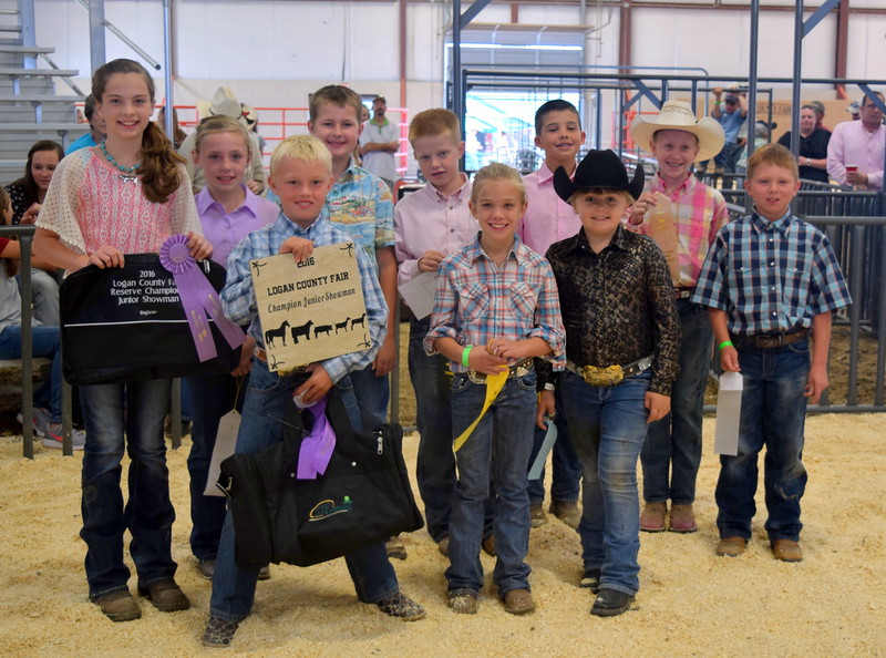 Junior showmanship competitors in the Round Robin Showmanship Contest Friday, Aug. 5, 2016, at the Logan County Fair. From row, from left; Beau Carlson, master showman; Hallie Lewis, fifth place; Hadlie Robinette, 10th place; back row, from left; Jalyssa Maker, reserve master showman; Tyla Thomas, third place; Jaxon Samber, fourth place; Colton Hadeen, sixth place; Slayter Goss, seventh place; Tobi-Beth Erickson; and Tyler Miller, ninth place.