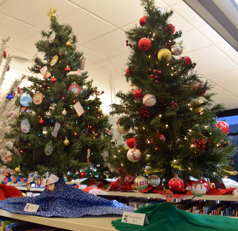 . Church of Jesus Christ of Latter Day Saints and Gertrude and Emma Rose\'s trees at Sterling Public Library\'s 2017 Parade of Trees.