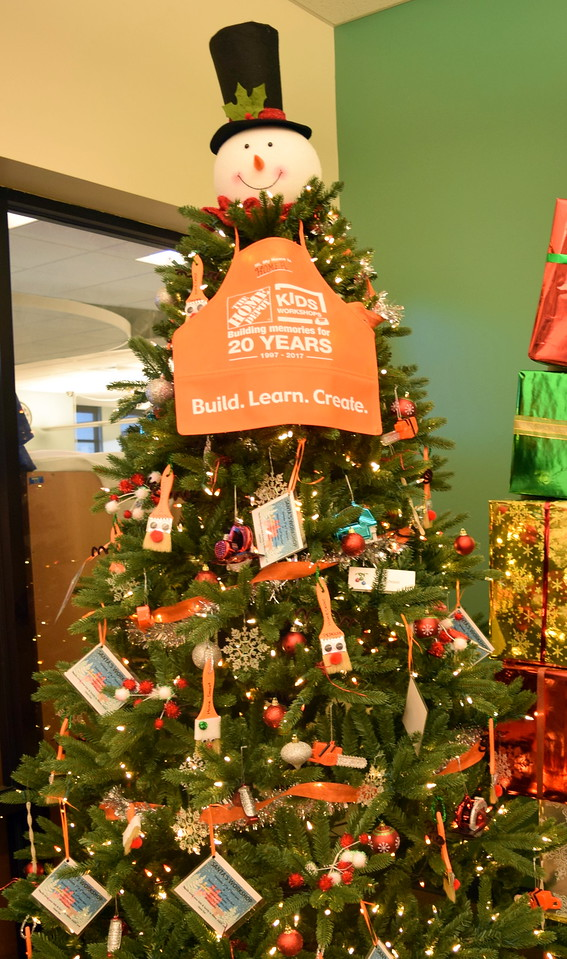 Home Depot's tree at Sterling Public Library's 2017 Parade of Trees.