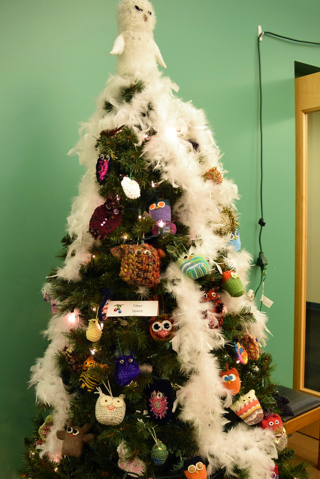 Fiber Space's tree at Sterling Public Library's 2017 Parade of Trees.
